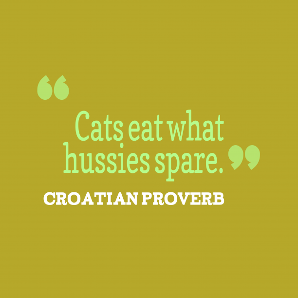 Croatian Wisdom 's quote about Eat, spare. Cats eat what hussies spare….