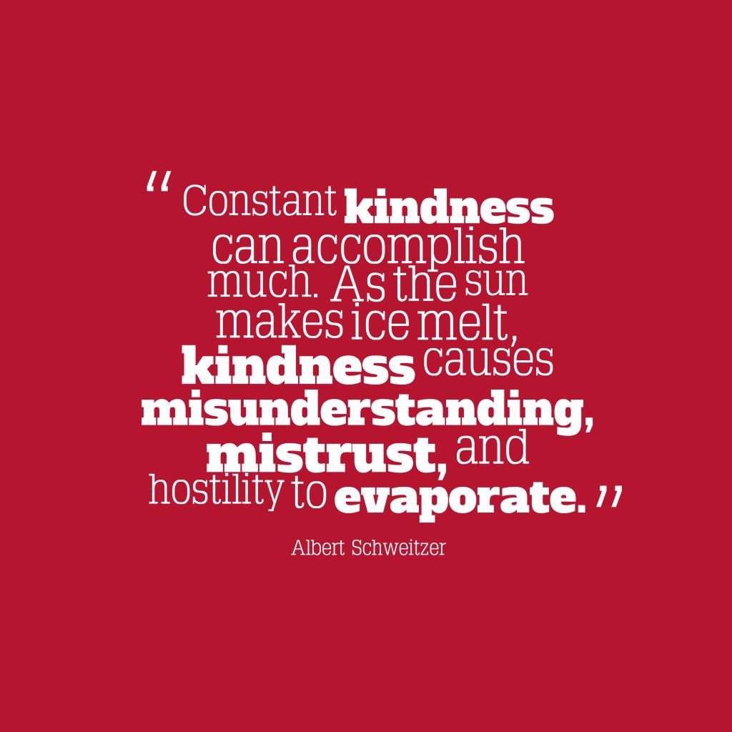 Albert Schweitzer quote about kindness.