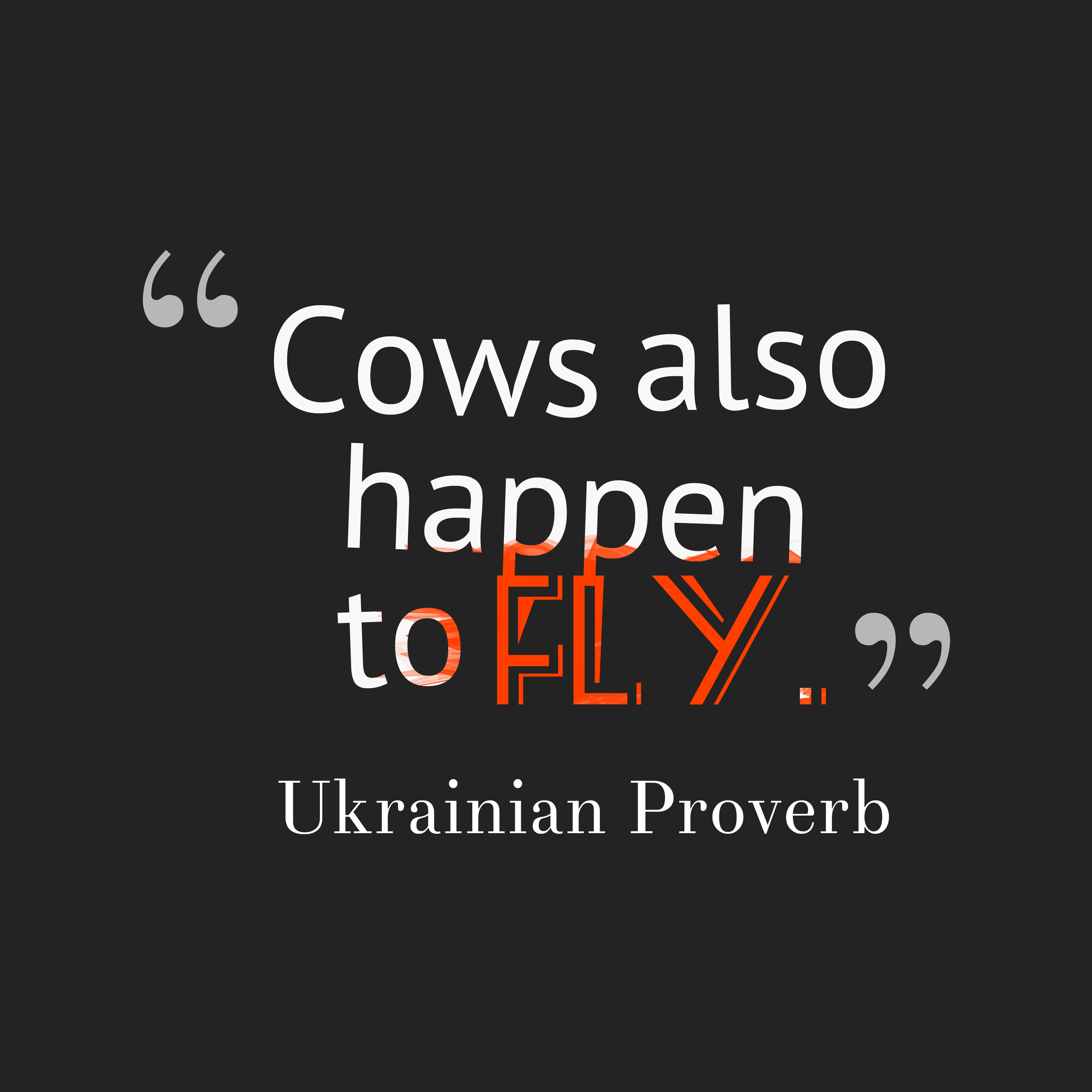Quotes image of Cows also happen to fly.
