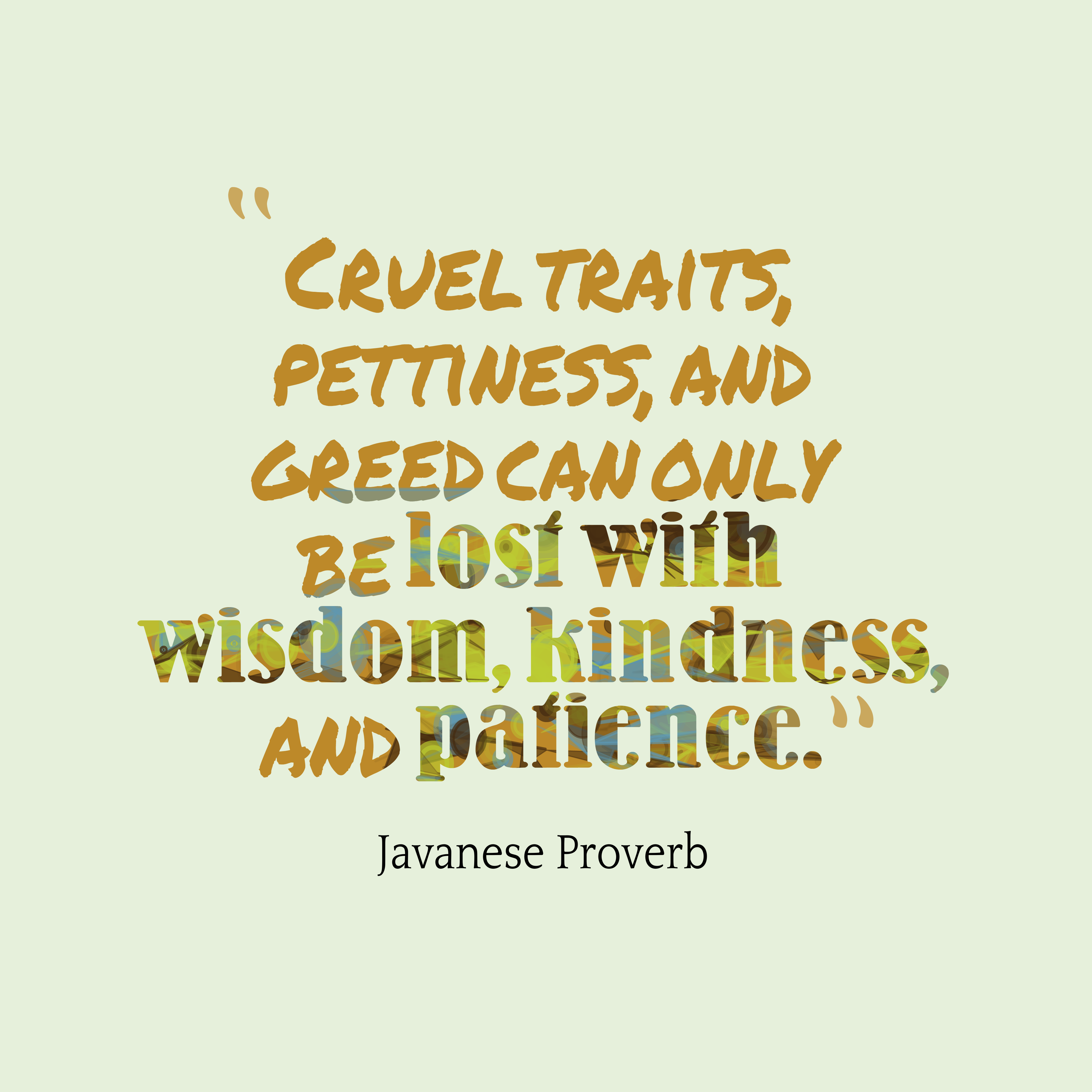 Javanese proverb about wisdom
