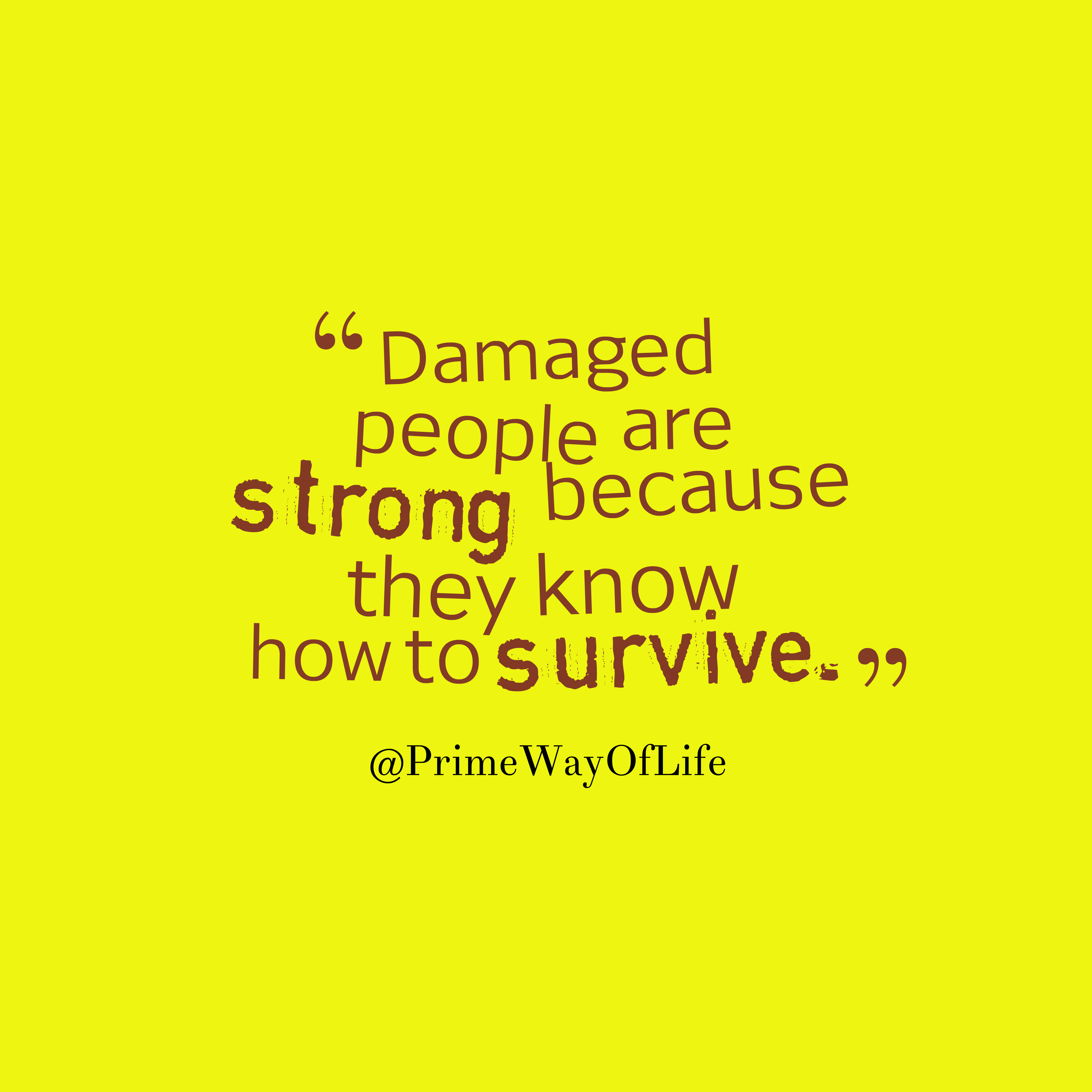 Quotes image of Damaged people are strong because they know how to survive.