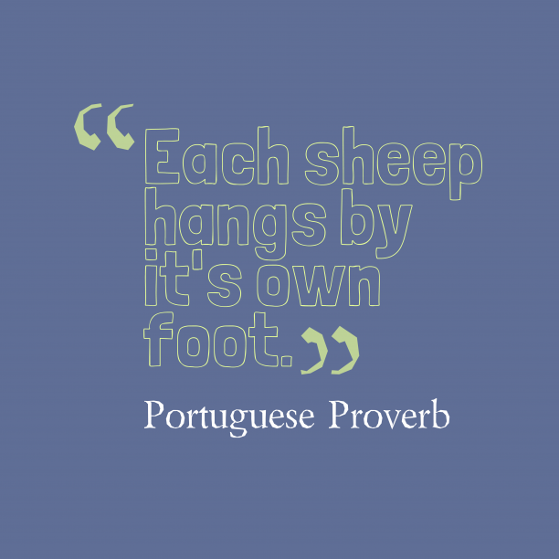 Portuguese Wisdom 's quote about Foot. Each sheep hangs by it's…
