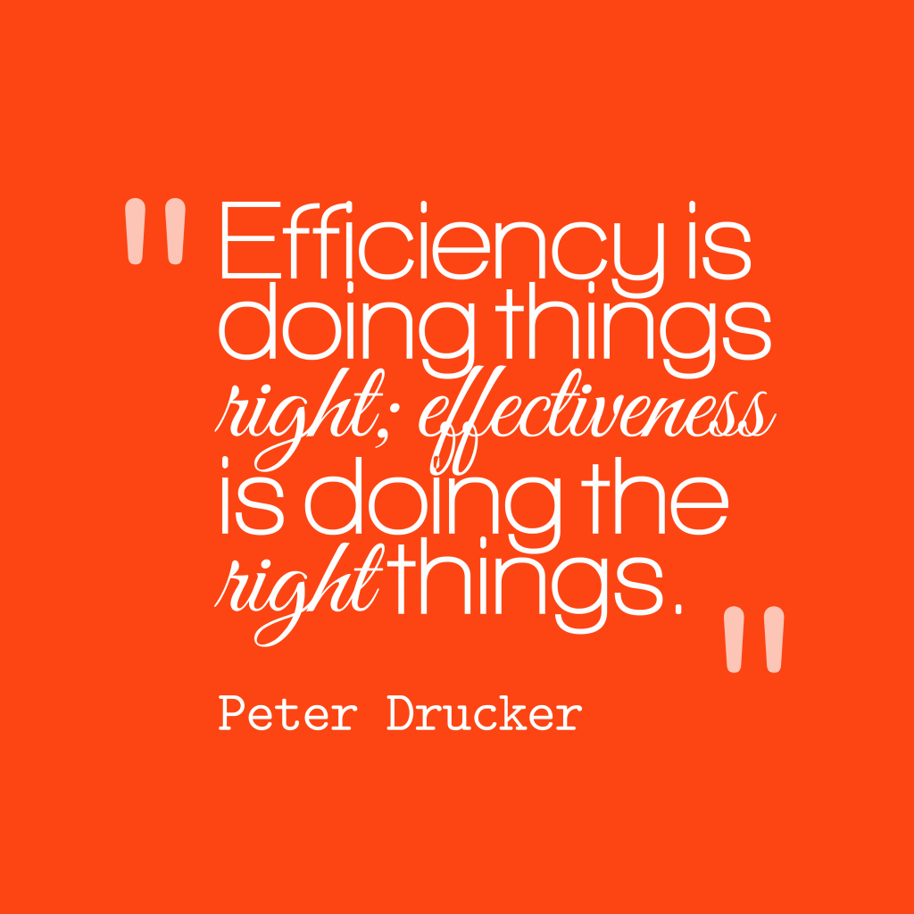 Peter Drucker quote about effixiency.