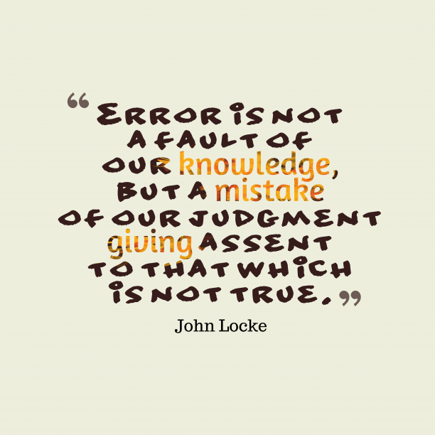 John Locke quote about errors.