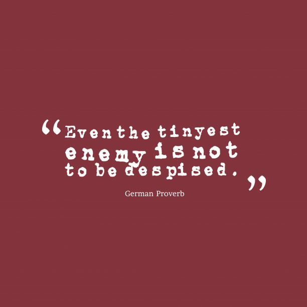 German Wisdom 's quote about . Even the tinyest enemy is…
