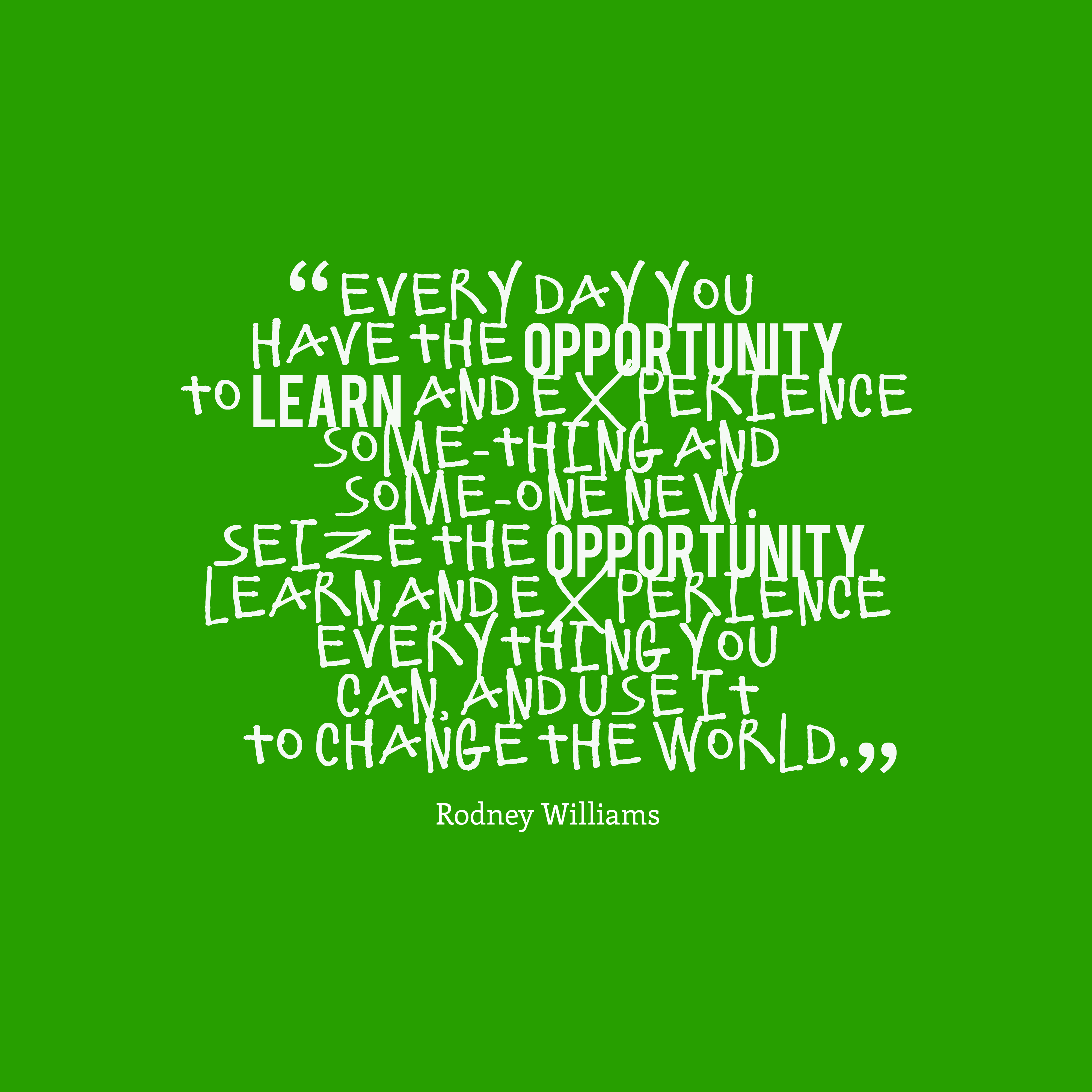 Quotes image of Every day you have the opportunity to learn and experience some-thing and some-one new. Seize the opportunity. Learn and experience everything you can, and use it to change the world.