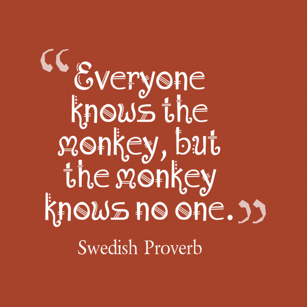 Swedish Wisdom 's quote about Monkey. Everyone knows the monkey, but…