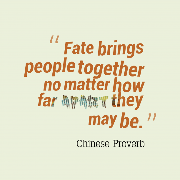 Chinese Wisdom 's quote about . Fate brings people together no…