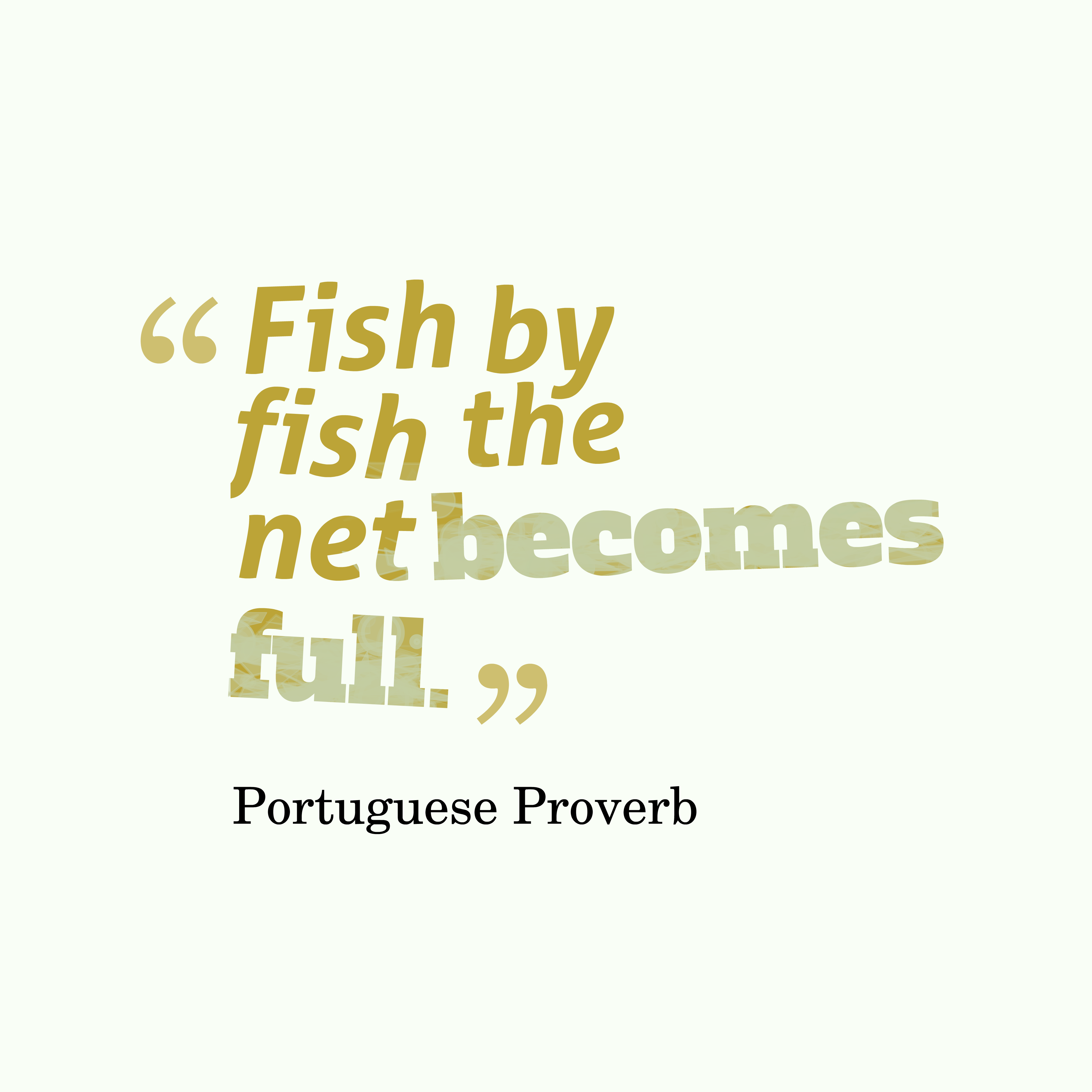 Quotes image of Fish by fish the net becomes full.