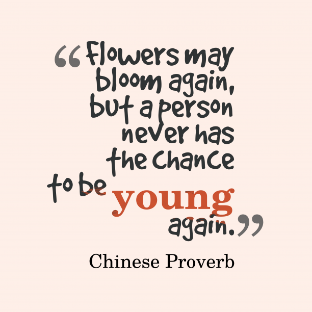 Chinese proverb about time.