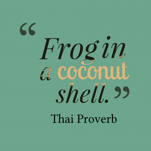 Thai Wisdom 's quote about Confuse.  Frog in a coconut…