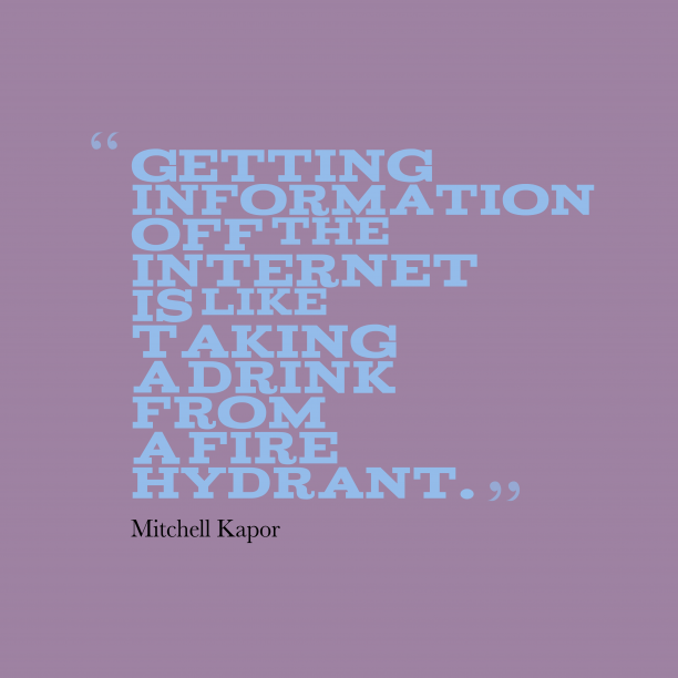 Mitchell Kapor 's quote about internet. Getting information off the Internet…