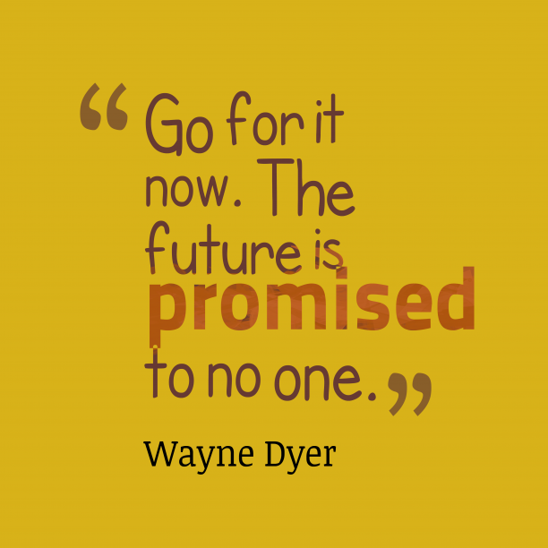 Wayne Dyer 's quote about . Go for it now. The…