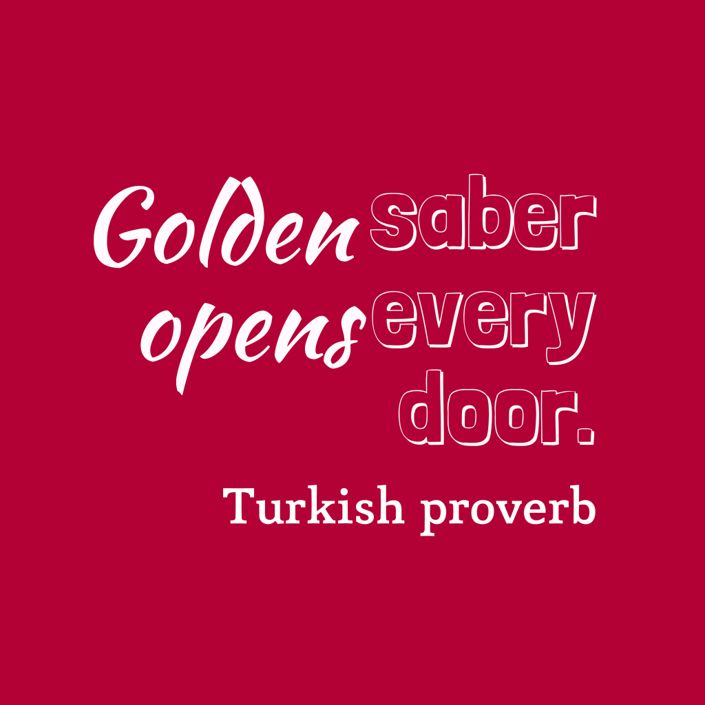 Turkish proverb about money.