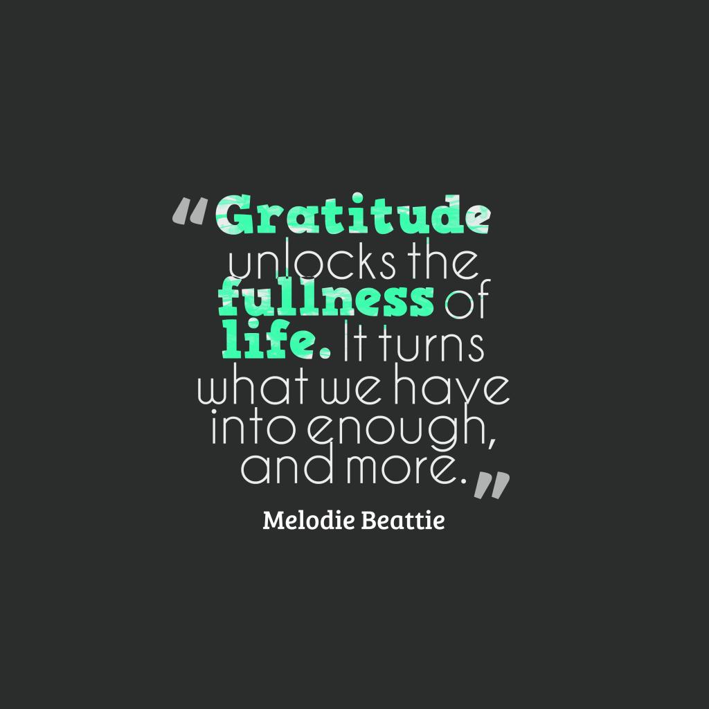 Melodie Beattie quote about gratitude.
