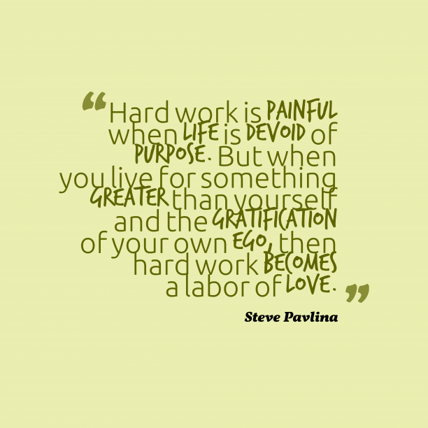 Steve Pavlina 's quote about . Hard work is painful when…