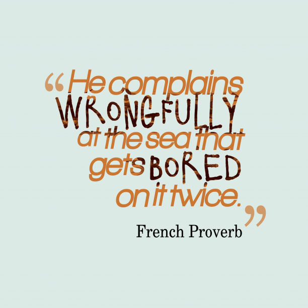French proverb about different.