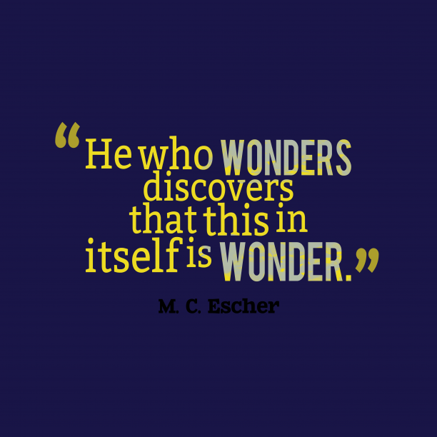 M. C. Escher 's quote about . He who wonders discovers that…