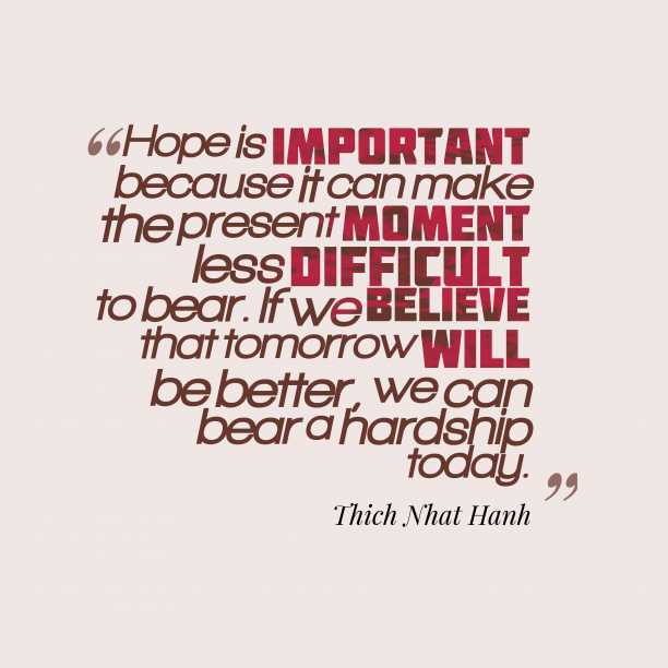 Thich Nhat Hanh 's quote about . Hope is important because it…