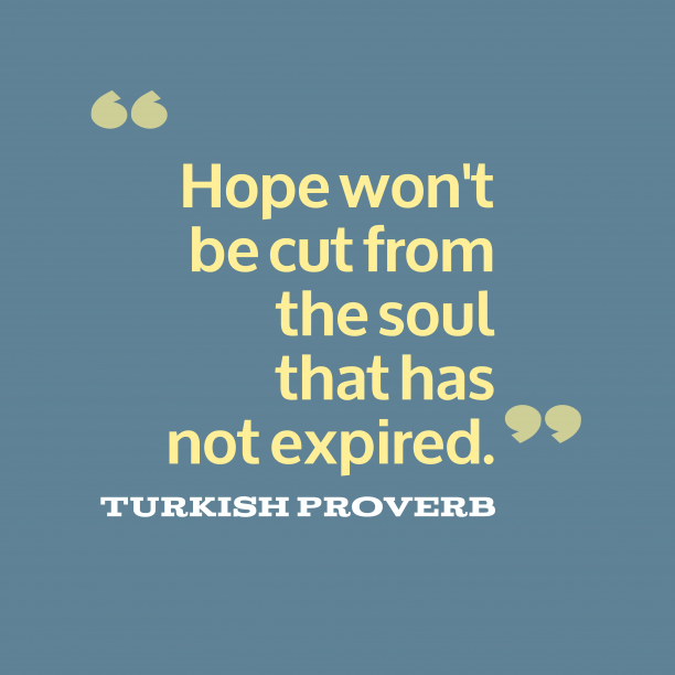 Turkish proverb about hope.
