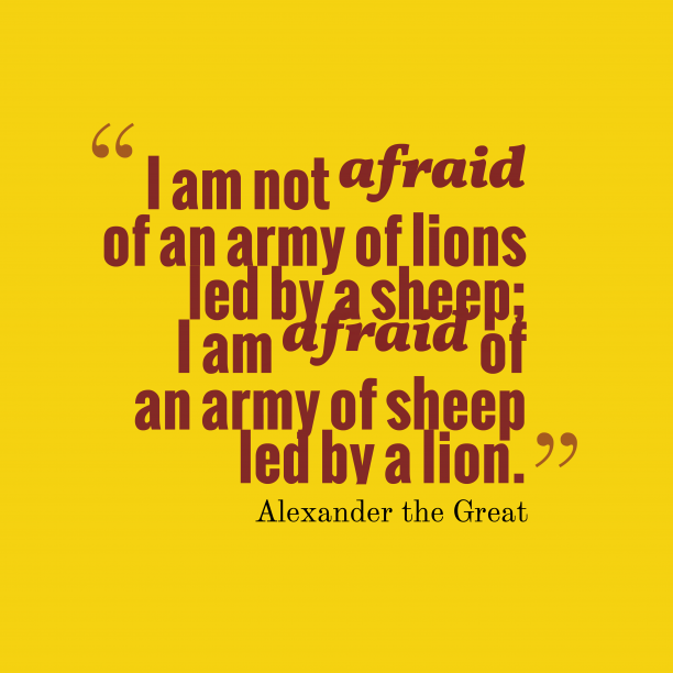Alexander the Great quote about organization.