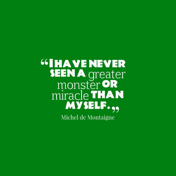 Michel de Montaigne 's quote about self, badness. I have never seen a…