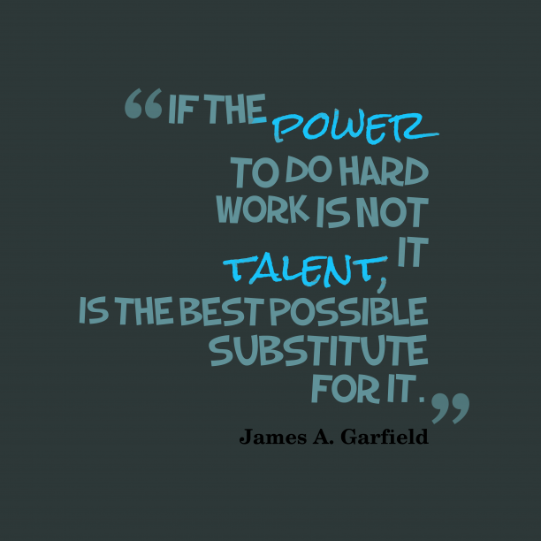 James A. Garfield 's quote about power, work. If the power to do…