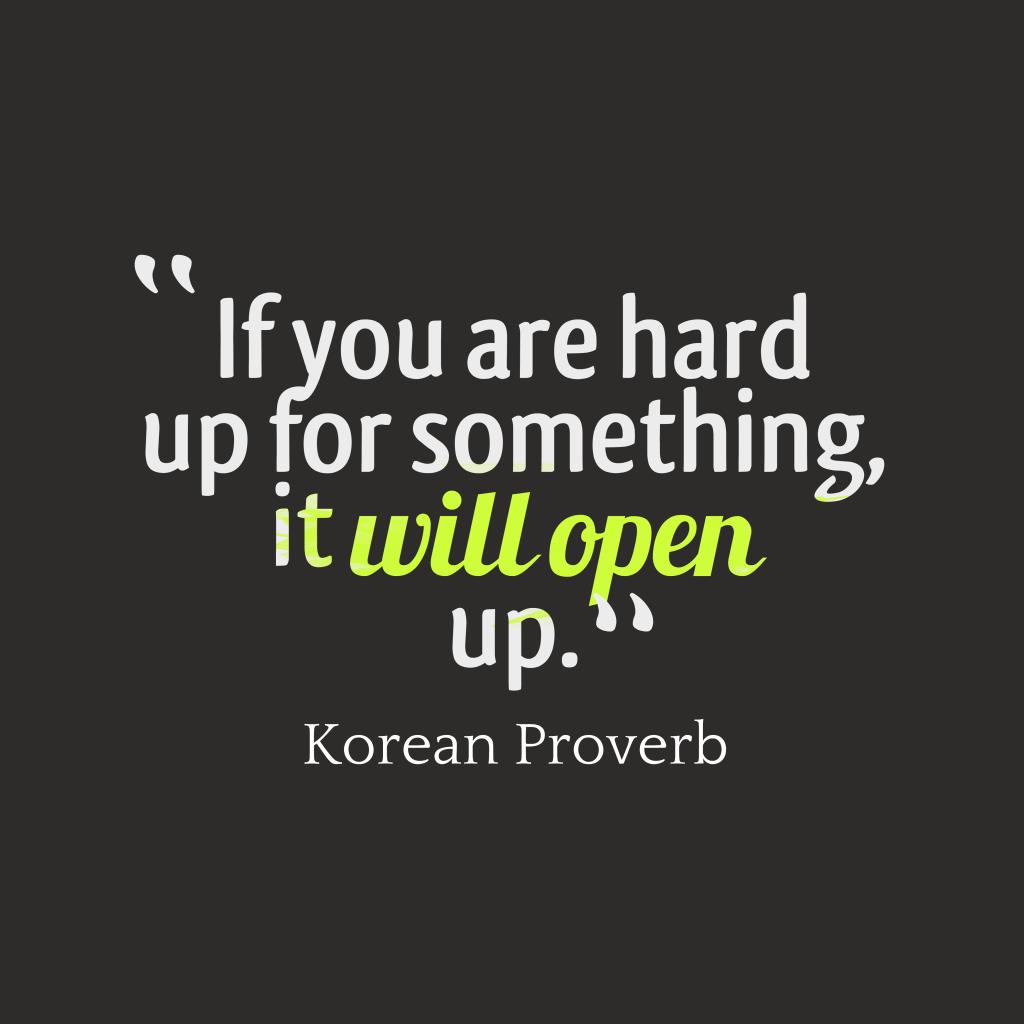 Korean proverb about problem.