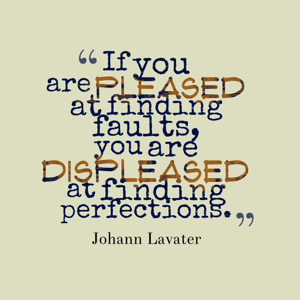 Johann Lavater quote about perfection.