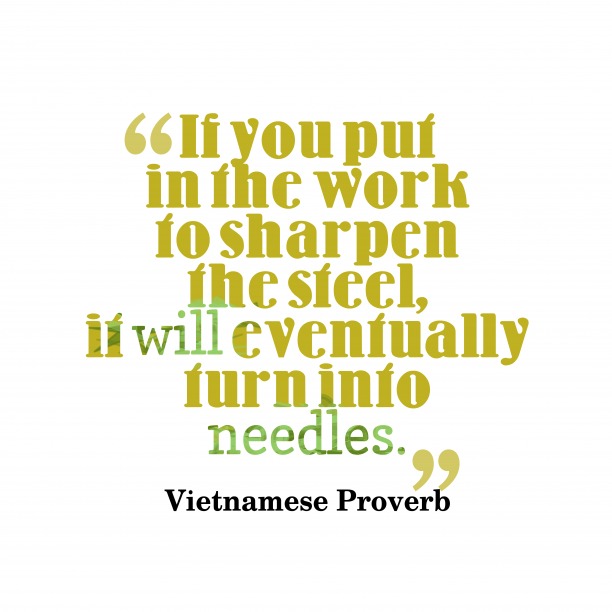 Vietnamese proverb about persistence.