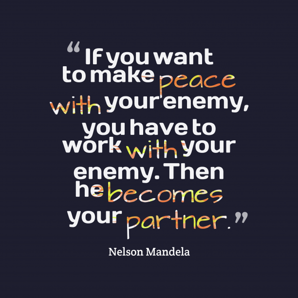 Nelson Mandela quote about peace.