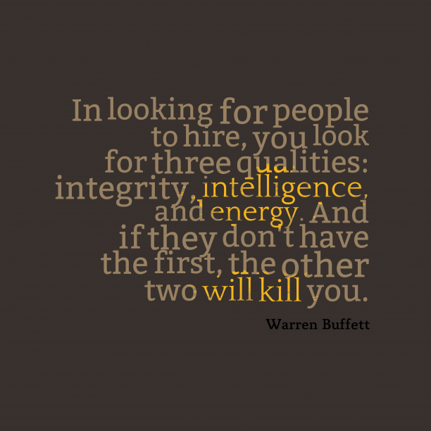 Warren Buffett quote about integrity