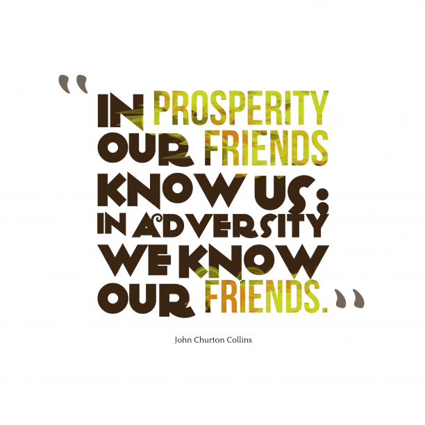 John Churton Collins 's quote about Friends. In prosperity our friends know…