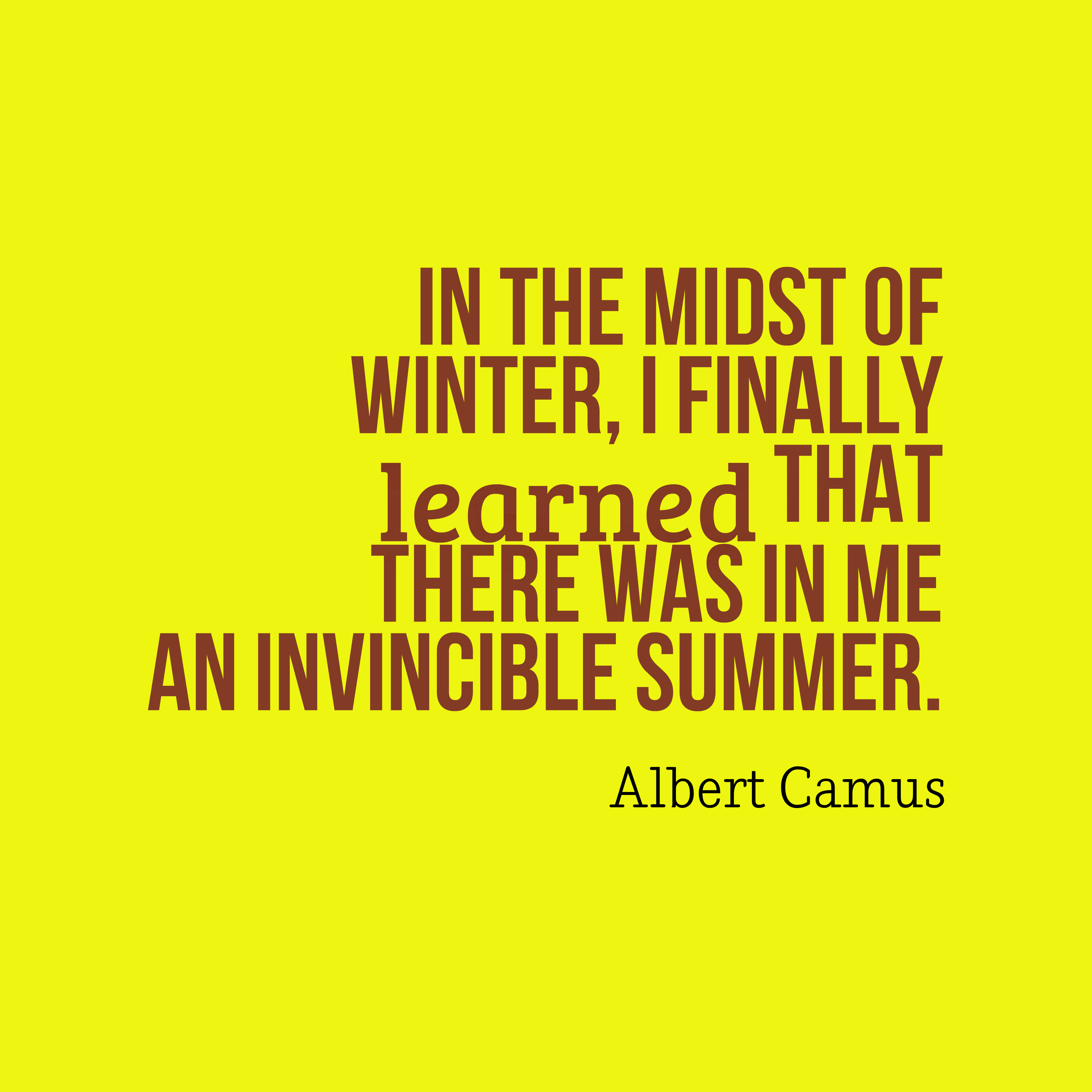 Quotes image of In the midst of winter, I finally learned that there was in me an invincible summer.