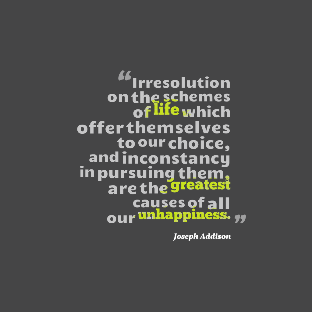 Joseph Addison quote about resolution.