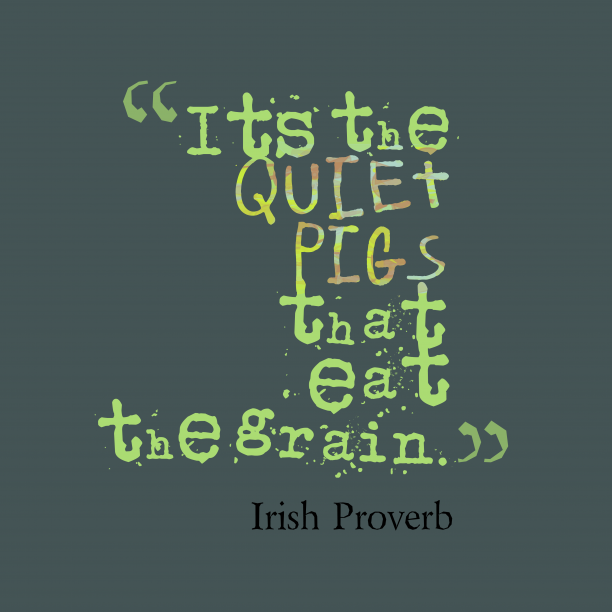 Irish proverb about quiet.