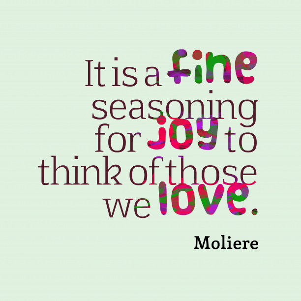 Moliere 's quote about . It is a fine seasoning…