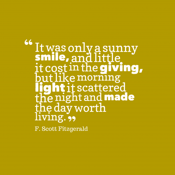 F. Scott Fitzgerald quote about smile.