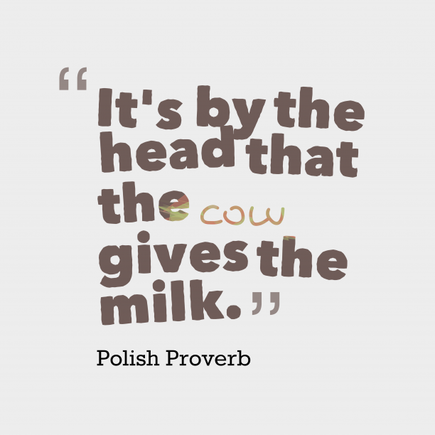 Polish Wisdom 's quote about . It's by the head that…