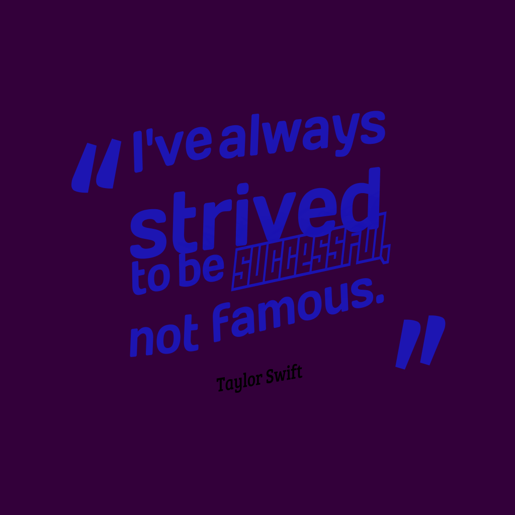 Taylor Swift quote about famous.