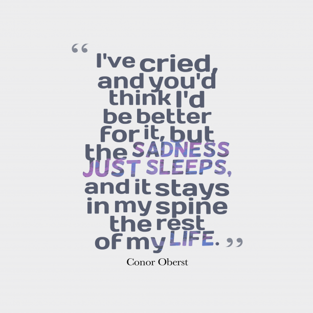 Conor Oberst 's quote about . I've cried, and you'd think…
