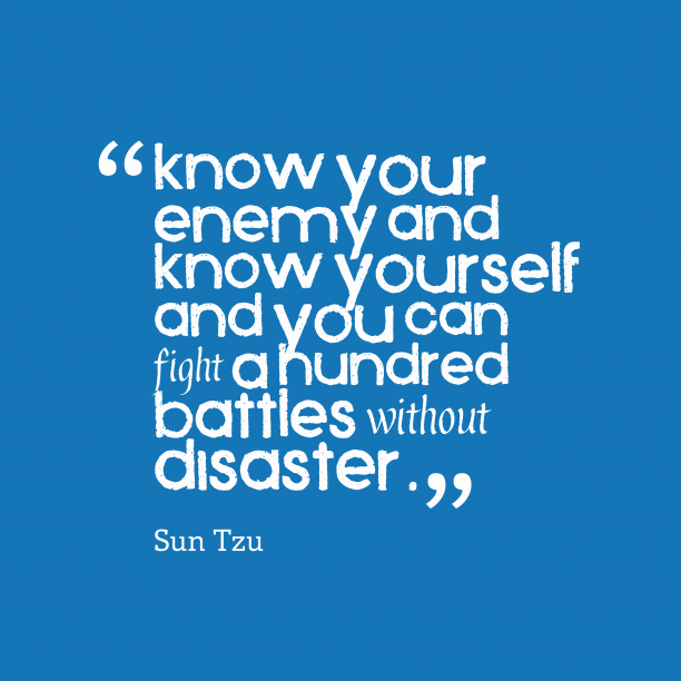 Sun Tzu 's quote about knowledge, strategy. Know your enemy and know…