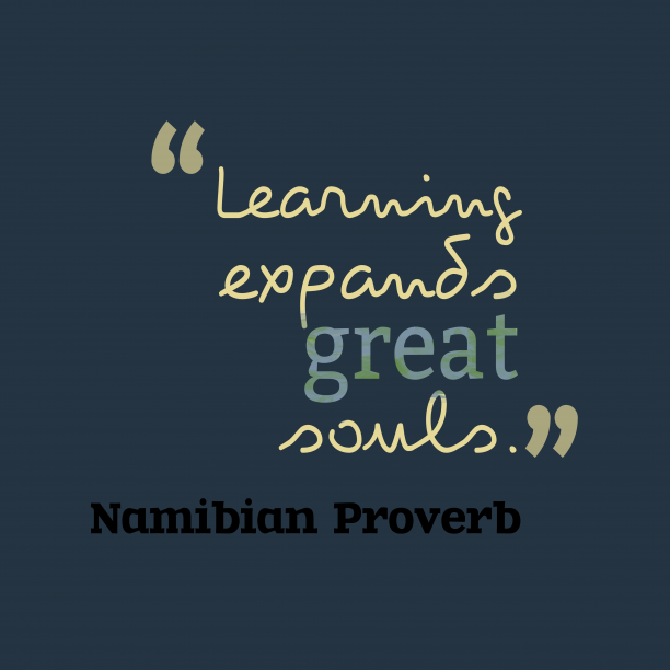 Namibian proverb about learn.