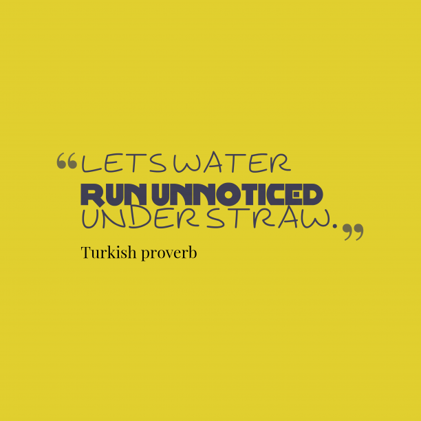 Turkish proverb 's quote about . Lets water run unnoticed under…