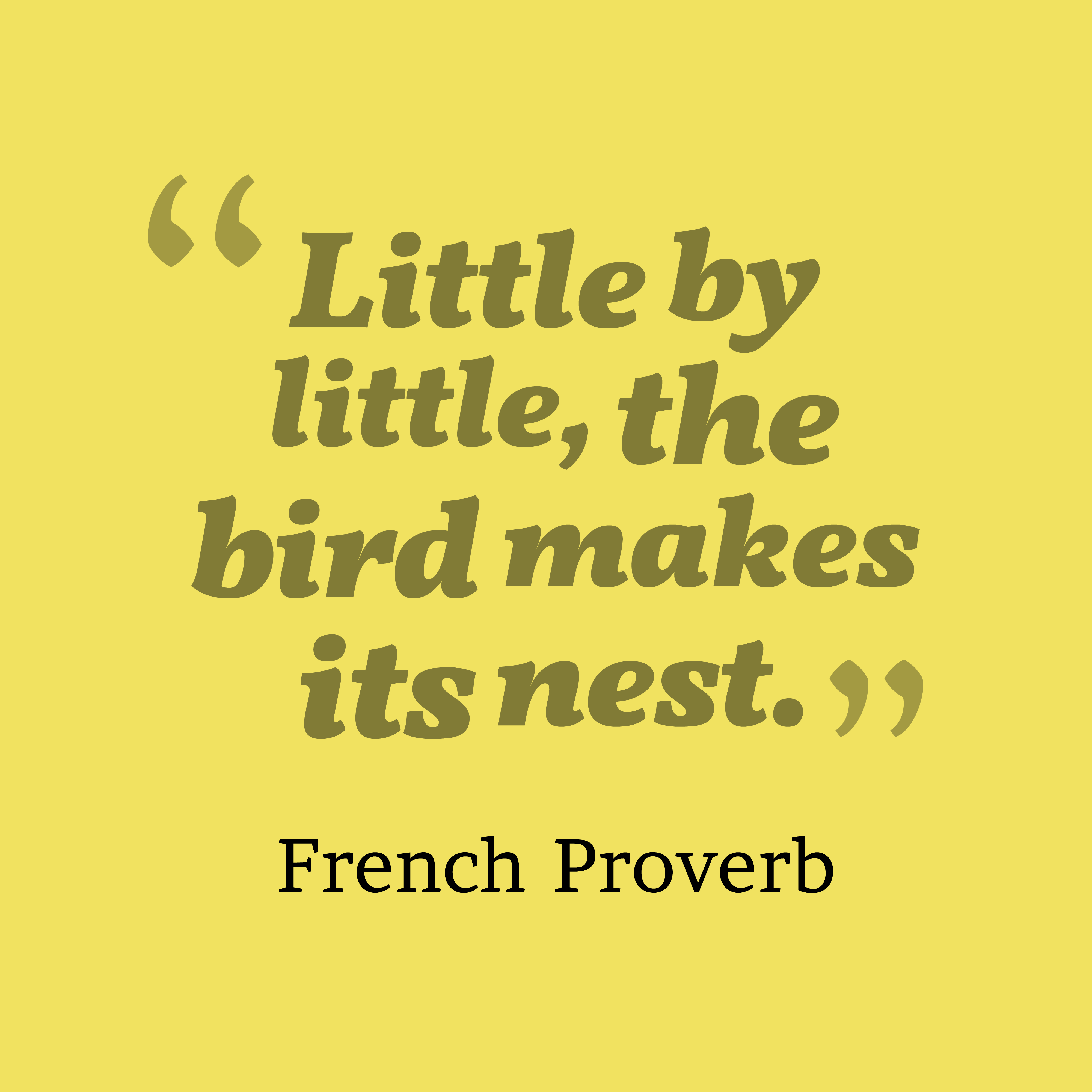 Quotes image of Little by little, the bird makes its nest.