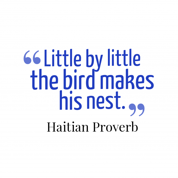 Haitian Wisdom 's quote about Little, steps. Little by little the bird…