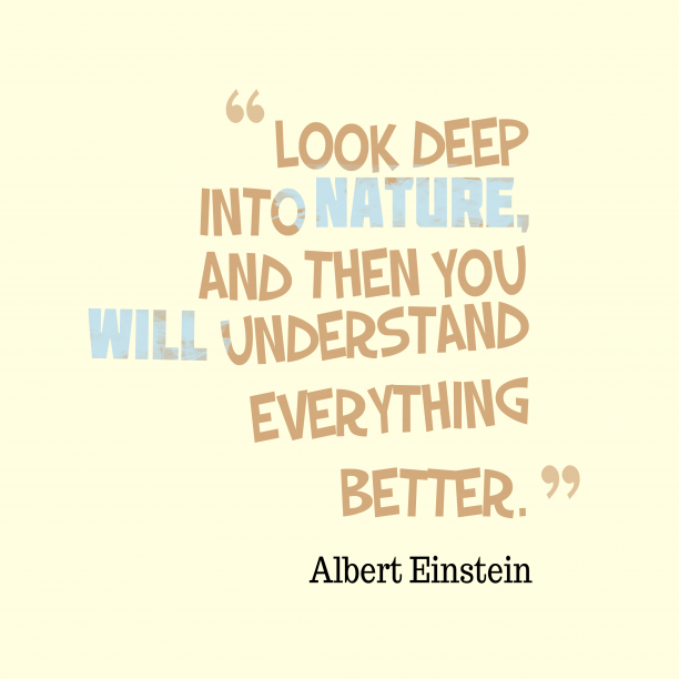 Albert Einstein 's quote about nature. Look deep into nature, and…