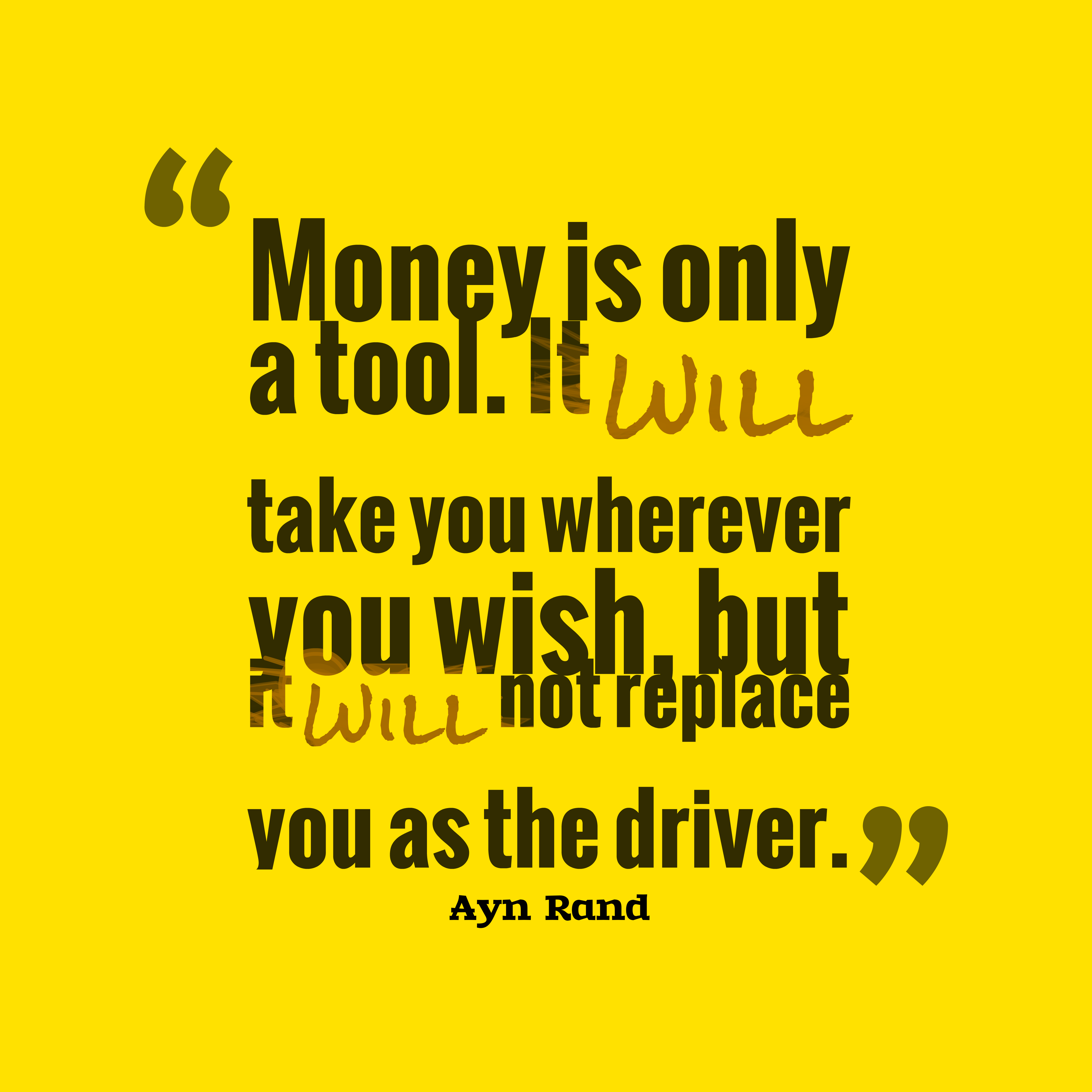 Quotes About Money: Picture » Ayn Rand Quote About Money