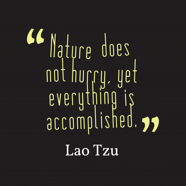 Lao Tzu 's quote about Nature. Nature does not hurry, yet…