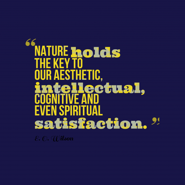 E. O. Wilson 's quote about . Nature holds the key to…